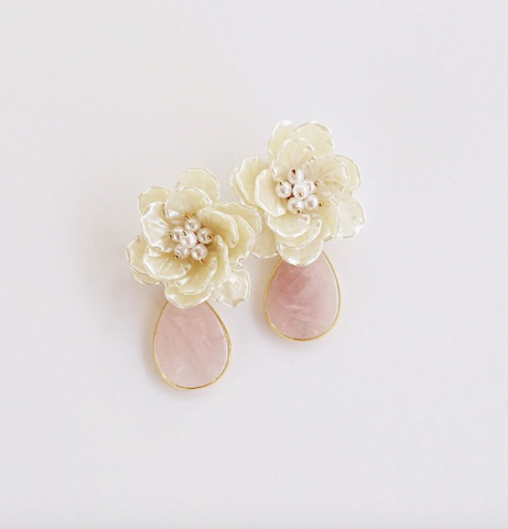 Pearl Flower with Rose Quartz Drop Earrings