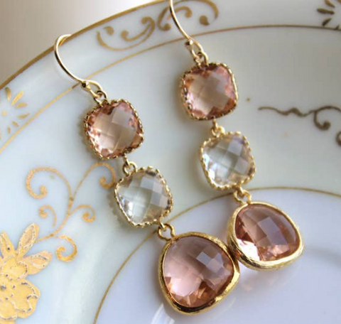 Blush Champagne Crystal Earrings