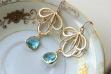 Aquamarine Earrings with Gold Feather