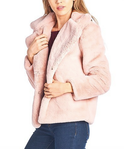 Blush Pink Faux Fur Jacket