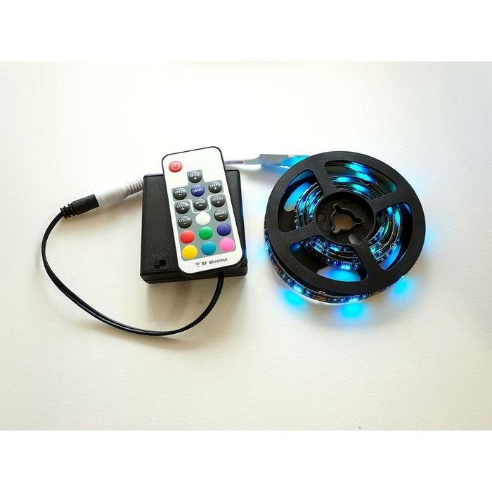 Battery Powered LED RGB Tape Light Kit 5V - 24V DC 3 ft Reel - Elumalight