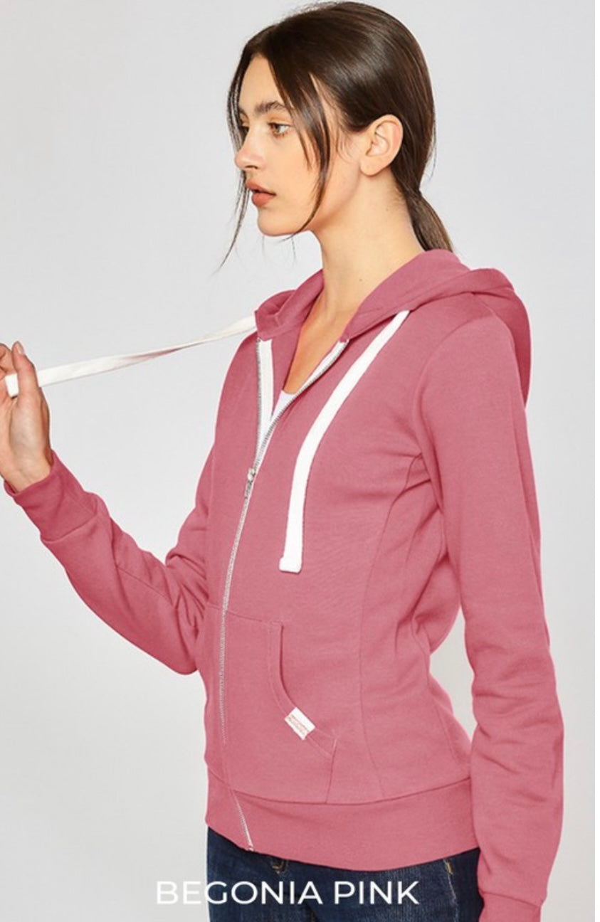 Soft Spot Zip-Up Hoodie Jacket In Begonia Pink