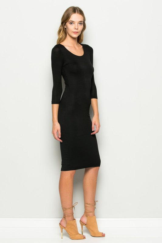 Fitted Scoop Neck Black Midi Dress