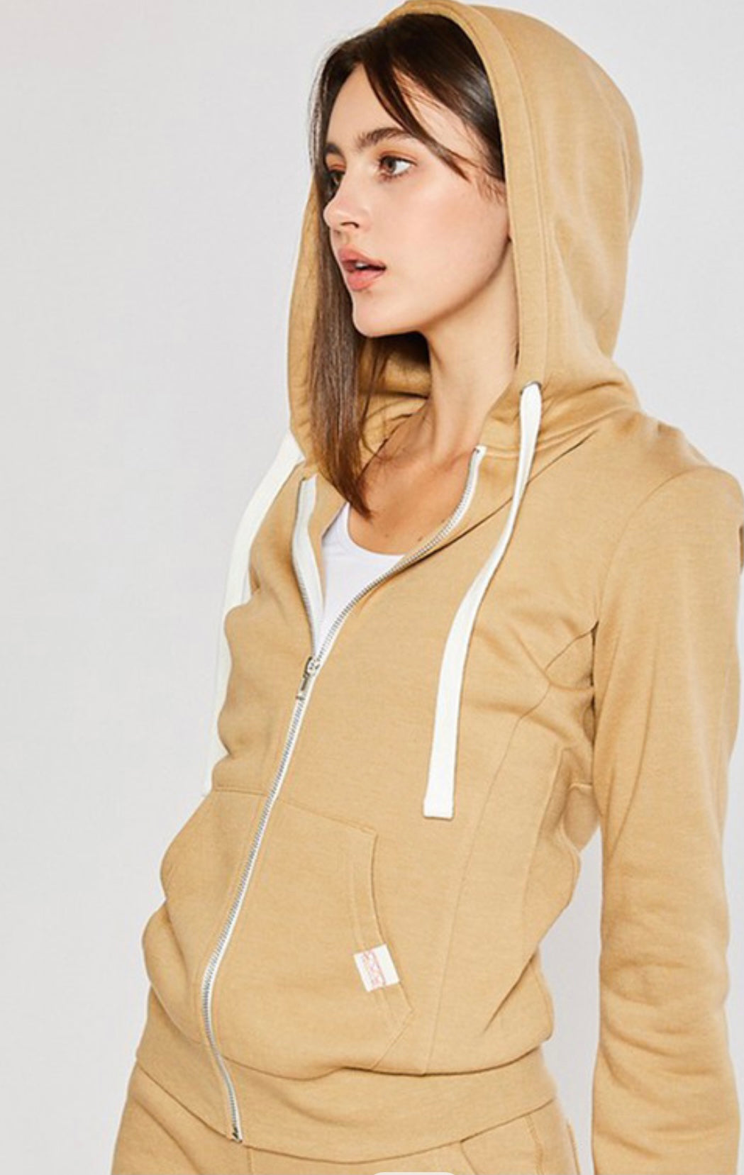Soft Spot Zip-Up Hoodie Jacket In Golden Tan