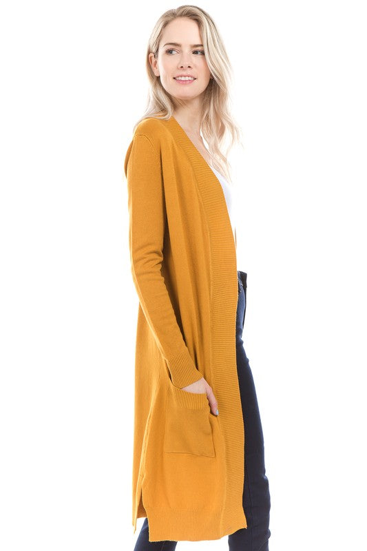Teachers Pet Long Cardigan Sweater In Mustard