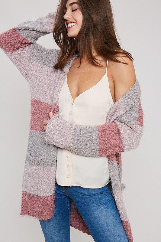 Boston Color Block Cardigan In Mauve
