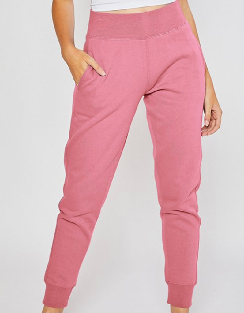 Soft Spot High Waist Joggers In Begiona Pink
