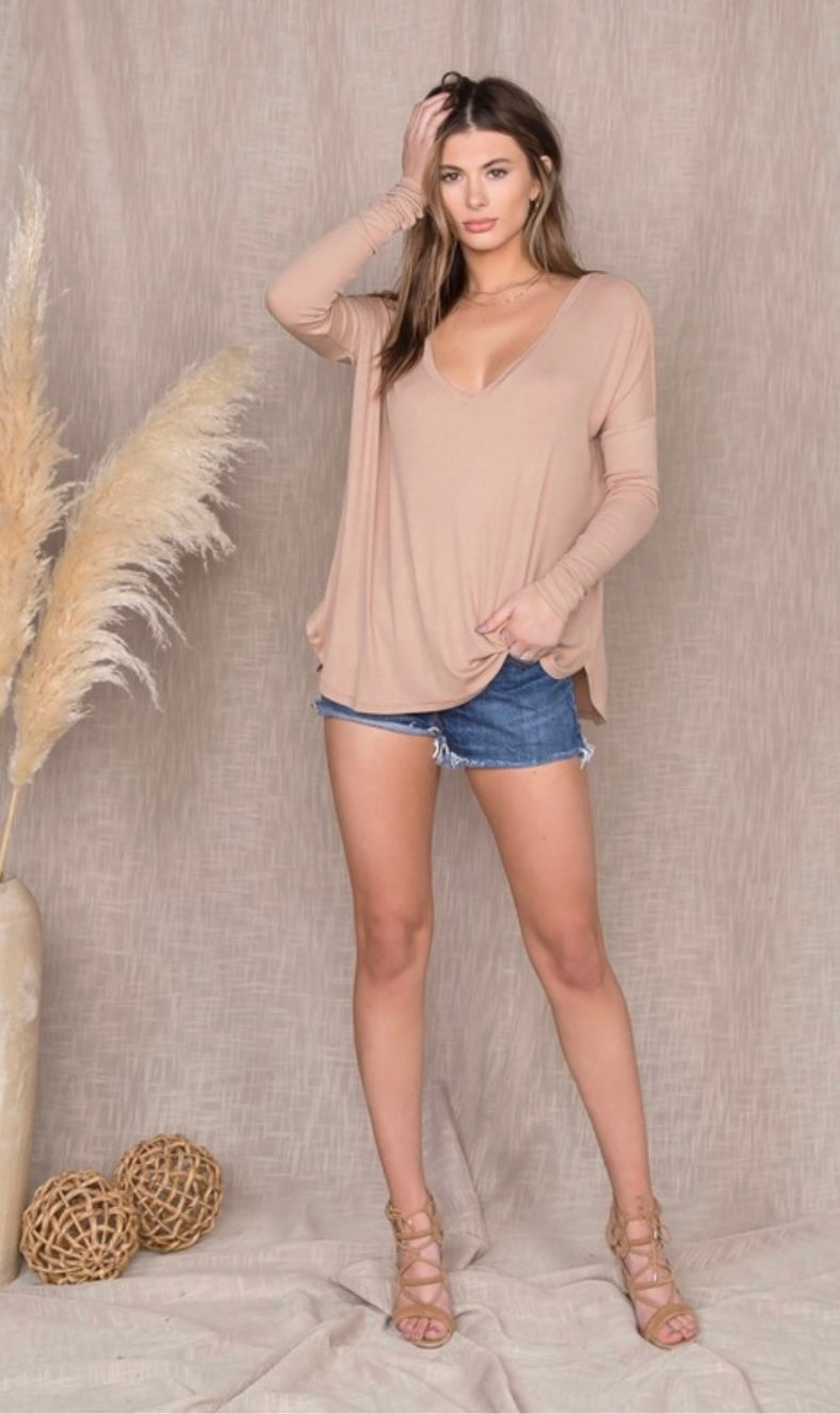 Invite Only Long Sleeve Nude Top