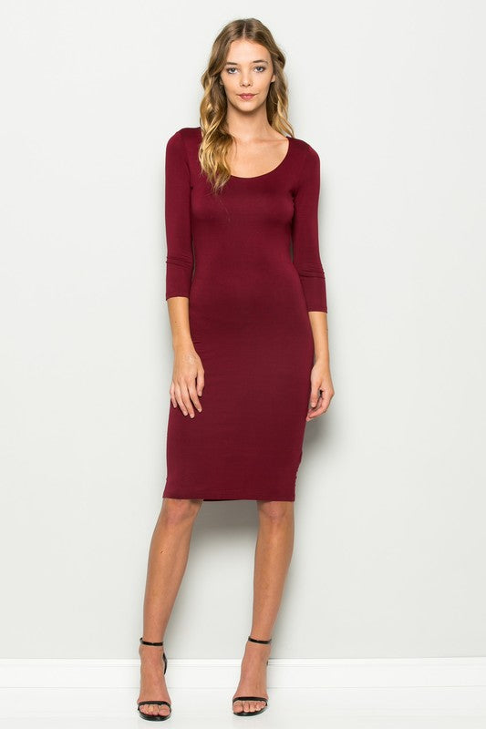 Fitted Scoop Neck Burgundy Midi Dress