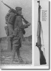World War I Doughboy with full pack shouldering his M1917 Enfield Rifle from U.S. Infantry Weapons of World War I by Bruce N. Canfield