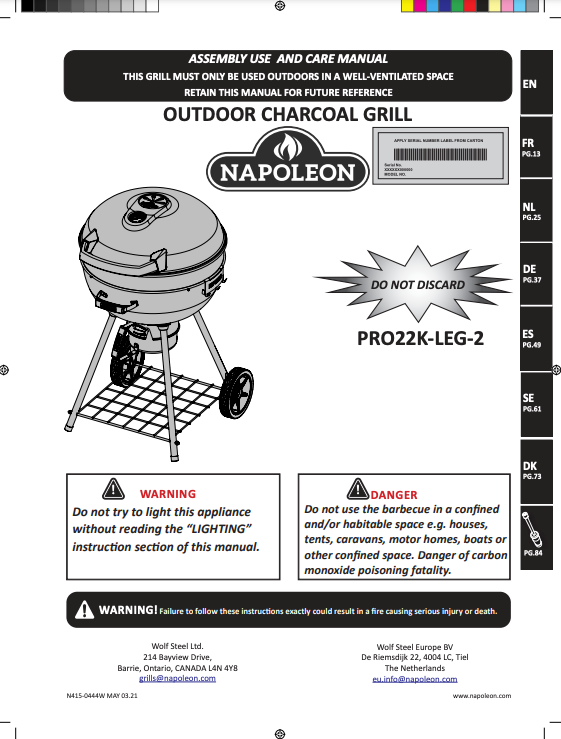 Pro Charcoal Kettle Grill Manual