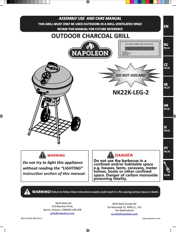 """22"""" Charcoal Kettle Grill Manual"""