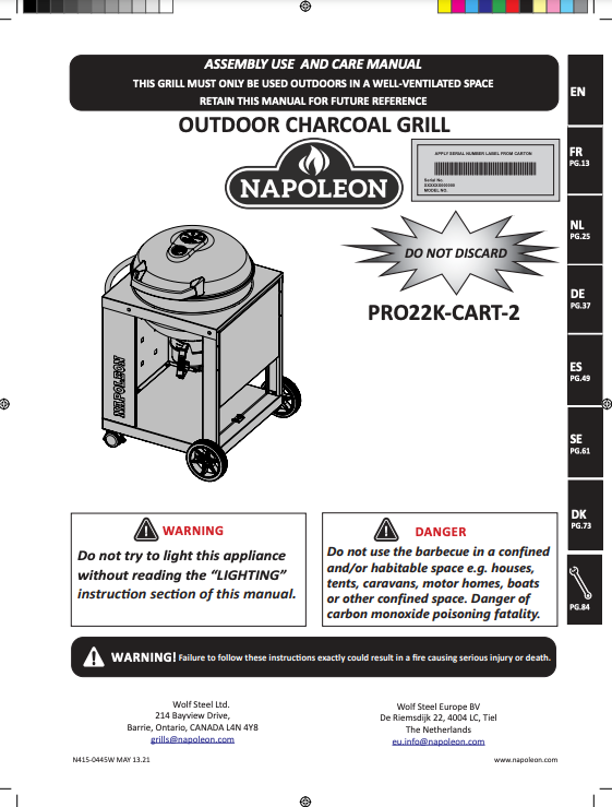 Pro Cart Charcoal Kettle Grill Manual