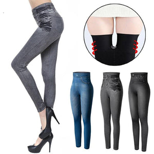 Women Fashion Faux Denim Leggings High Waist Slim Seamless Leggings