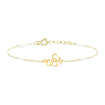 Trio Heart Gold Plated Silver Bracelet