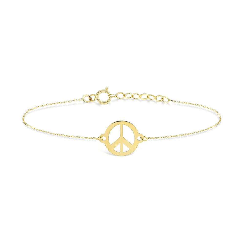Peace Sign Gold Plated Silver Bracelet
