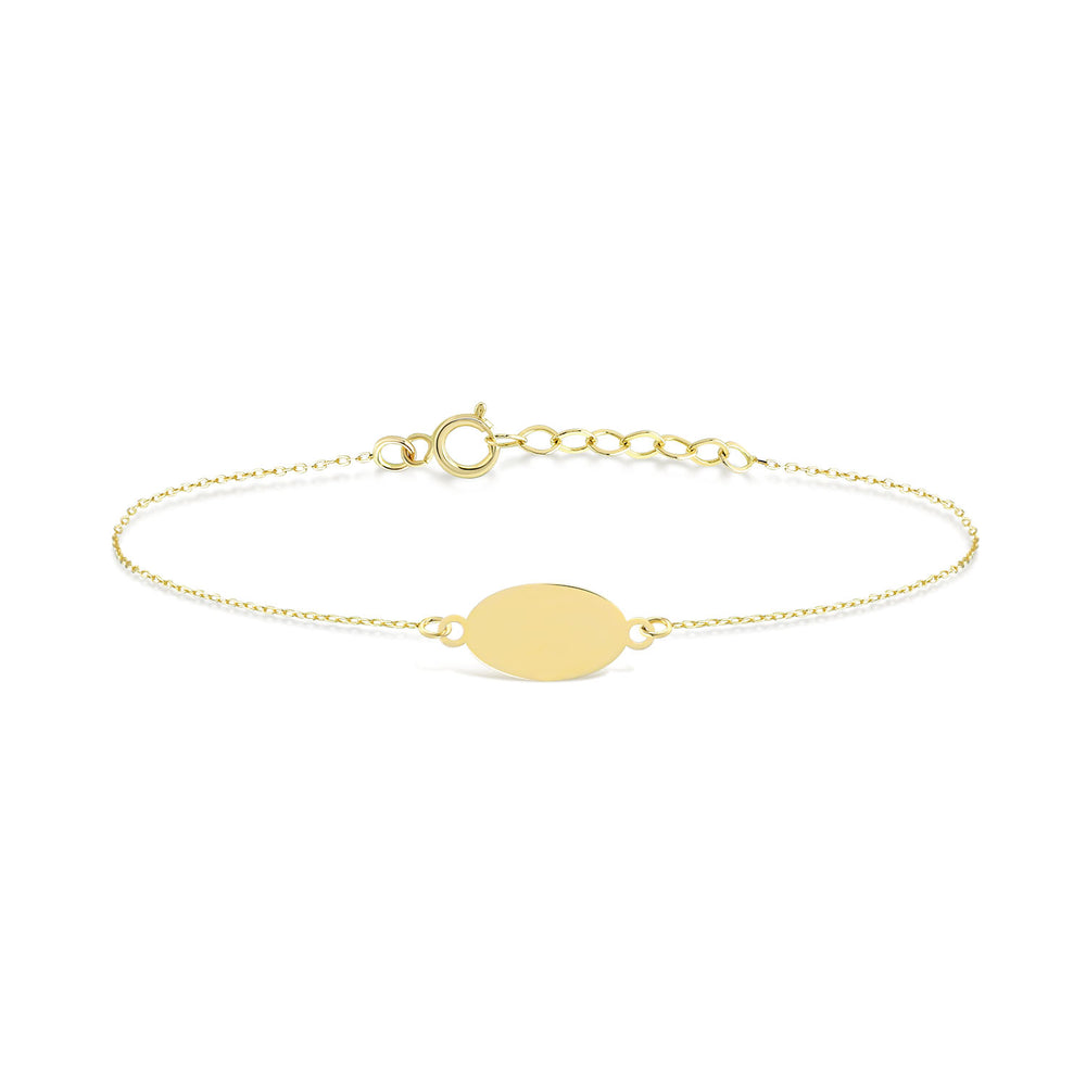 Load image into Gallery viewer, Mirror Polished Oval Engravable Gold Bracelet