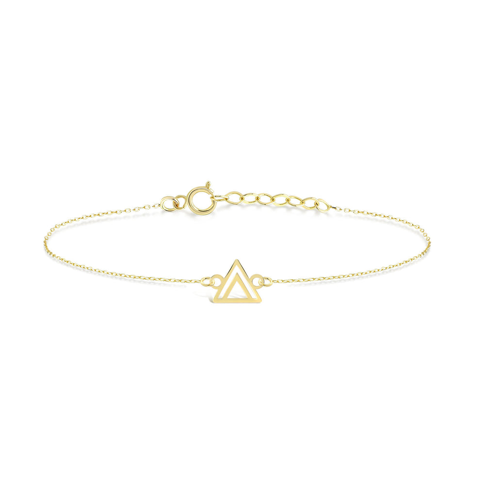 Double Triangle Gold Plated Silver Bracelet