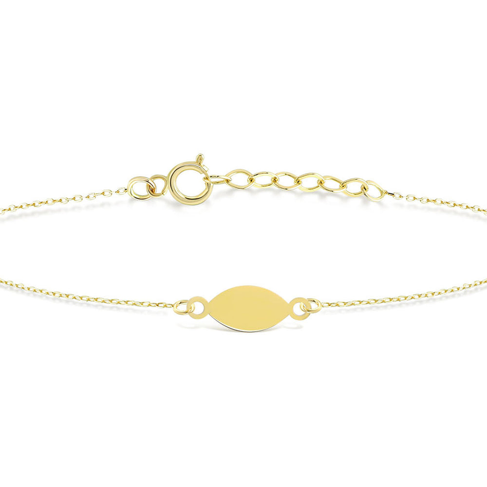 Mirror Polished  Engravable Gold Plated Silver Bracelet