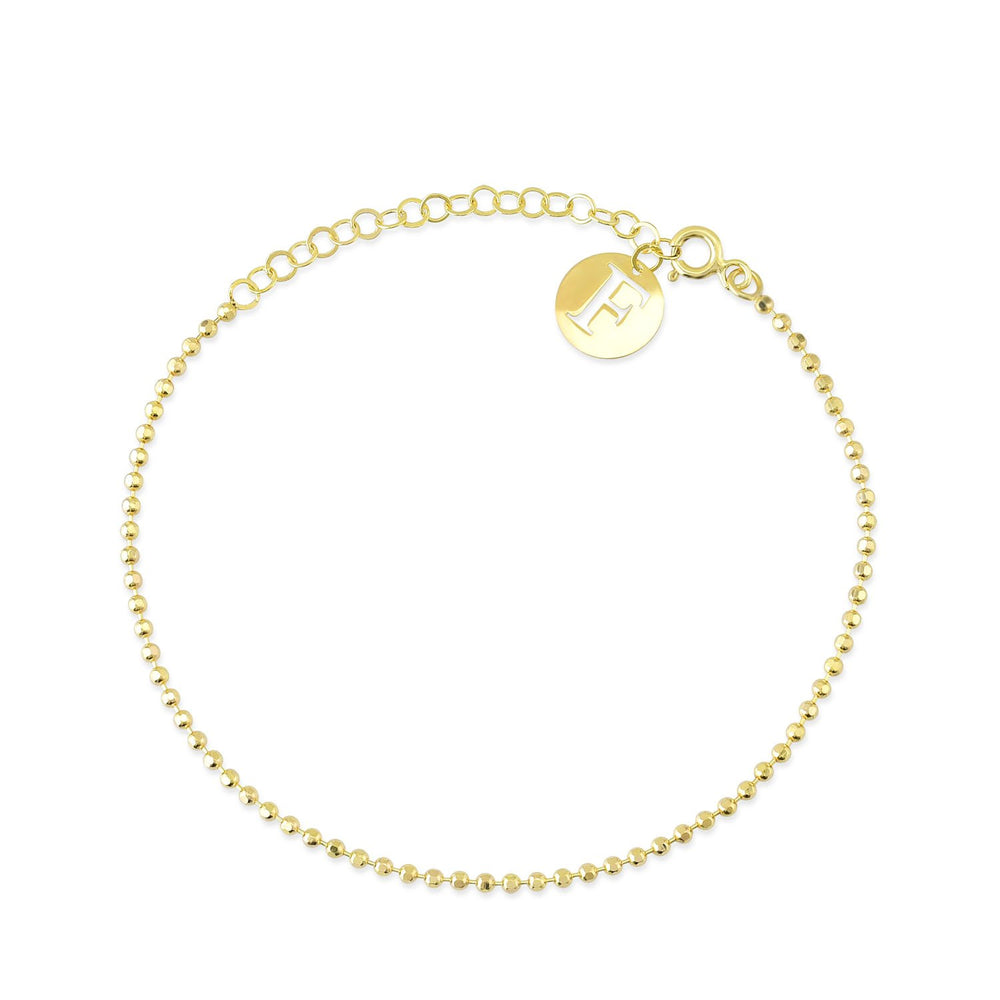 F Mark Bead And Ring Gold Plated 925K Silver Bracelet