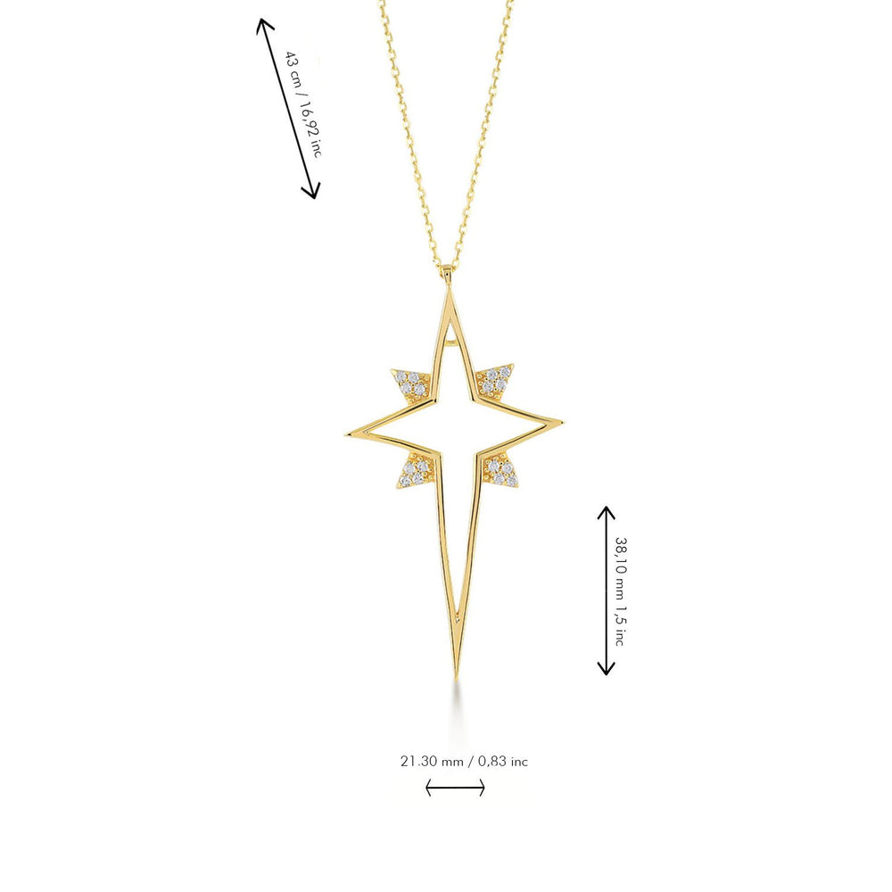 North Star Empty Stones Gold Plated 925K Silver Necklace