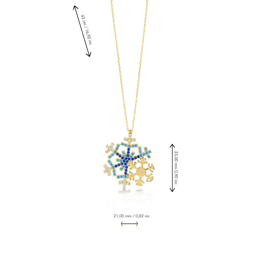 Double Snowflake Dark Blue Stones Gold Plated 925K Silver Necklace