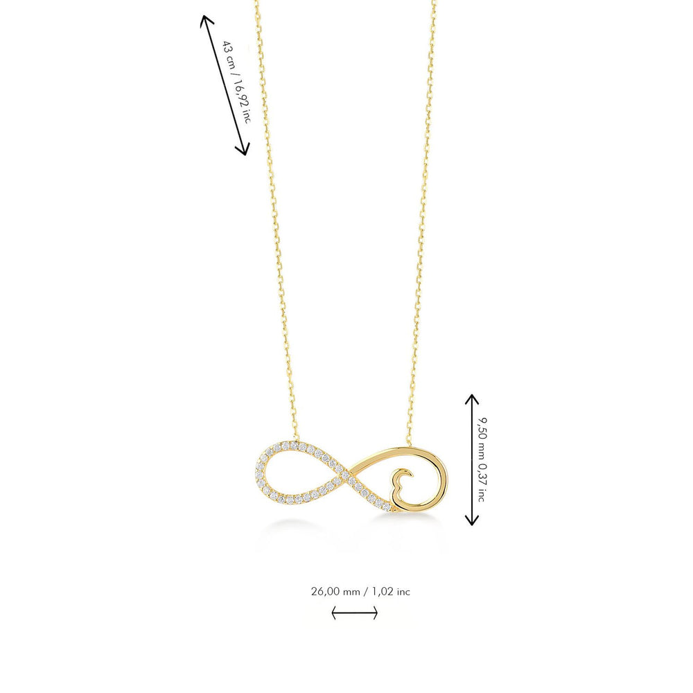 Infinity Heart Gold Plated 925K Silver Necklace