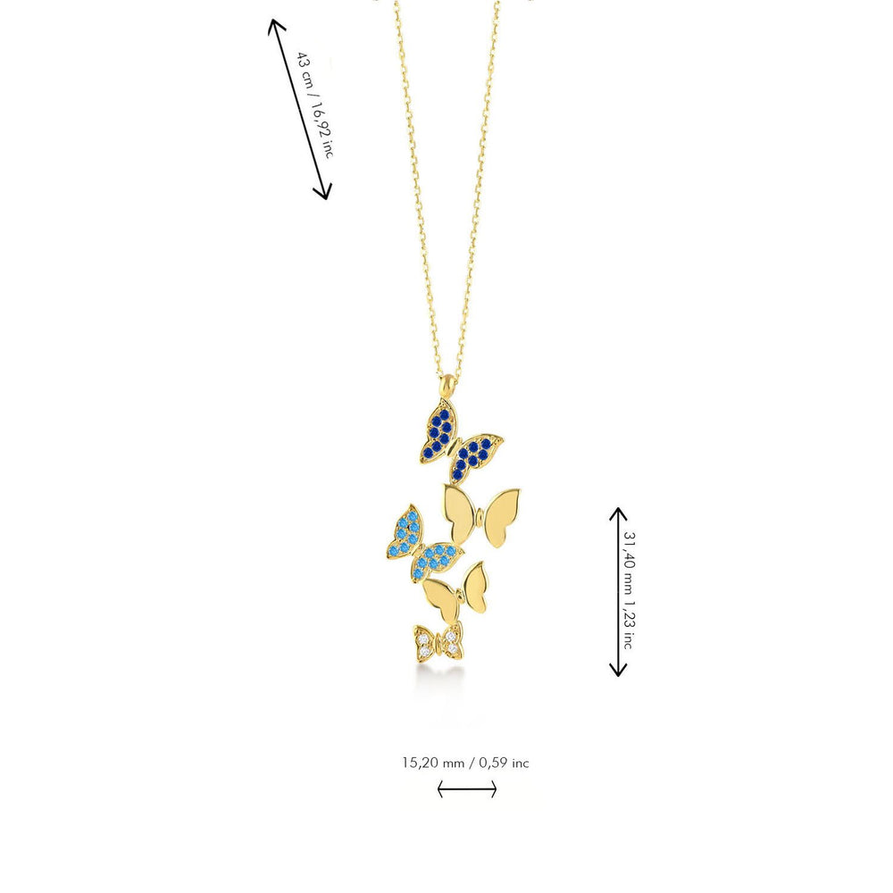 Butterfly Stones Gold Plated 925K Silver Necklace