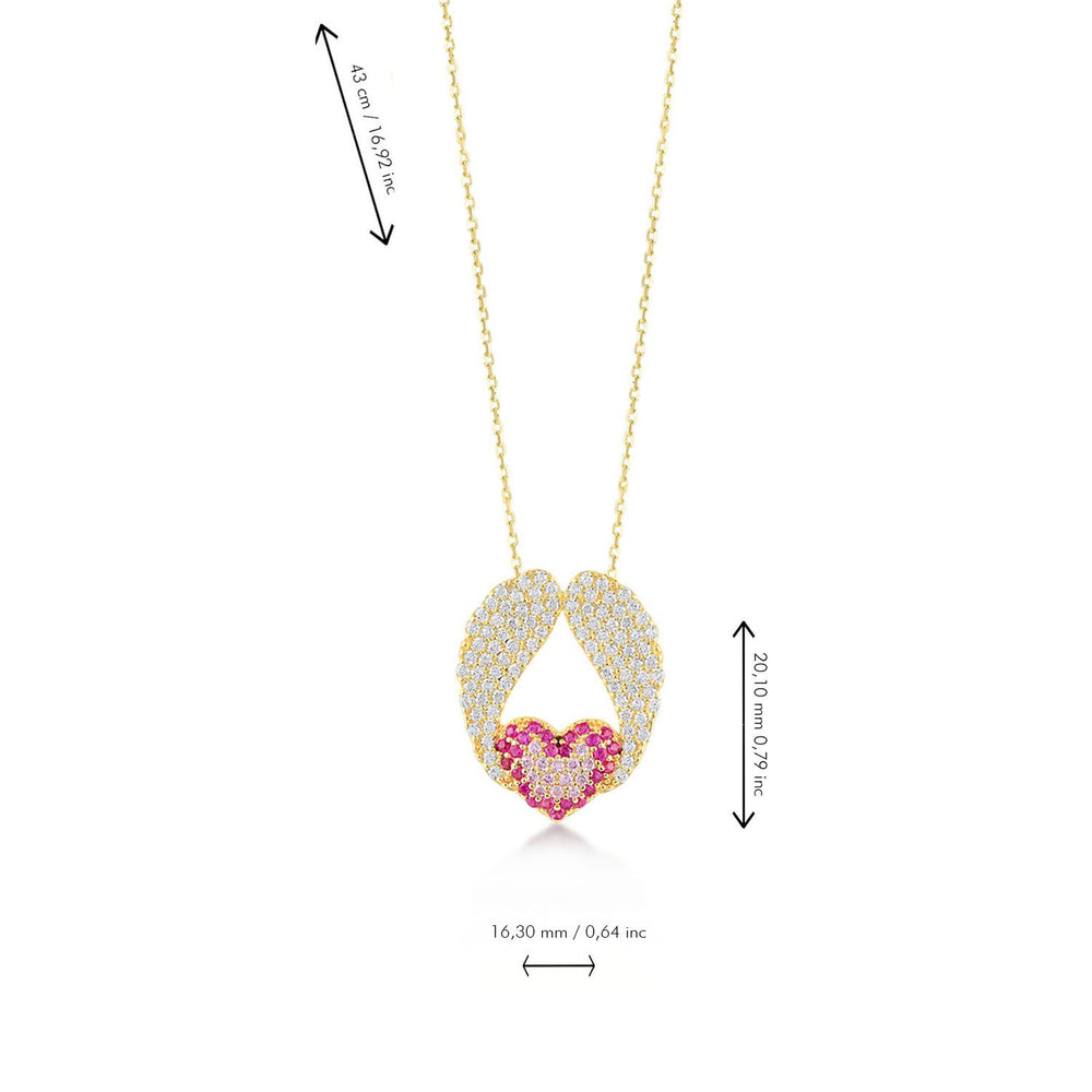 Angel Wings Pink Stones Heart Gold Plated 925K Silver Necklace