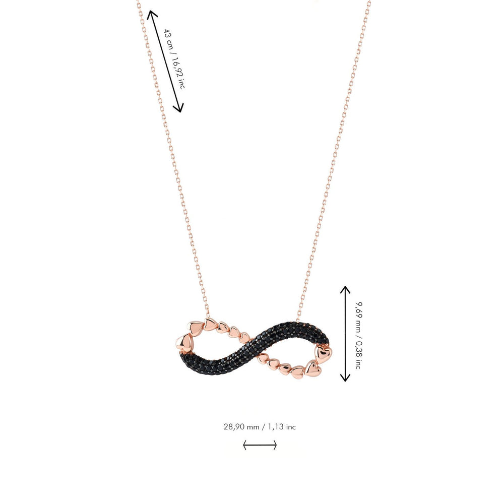 Black Stones Infinity Half Chain Rose Gold Plated 925K Silver Necklace