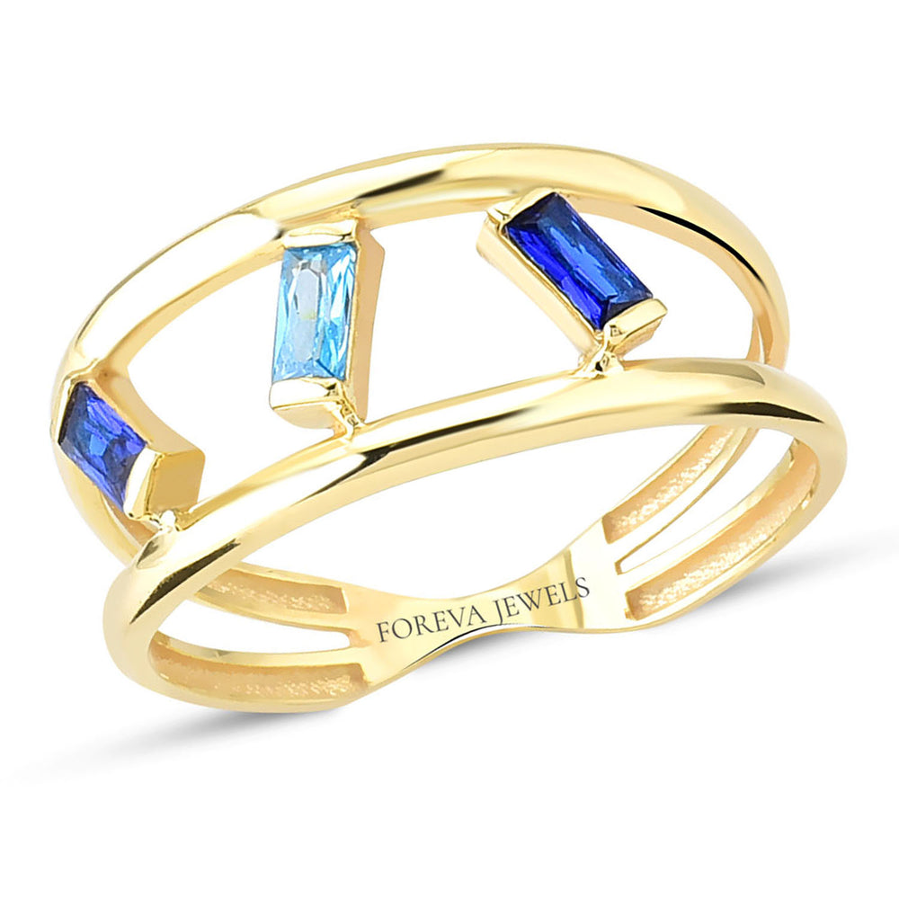 Minimalist Dark Blue ,Blue And Dark Blue Stone Reverse Line  Gold Plated 925K Silver Ring