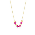 Shinning Ball and  Bead 14K Gold Pendant Necklace