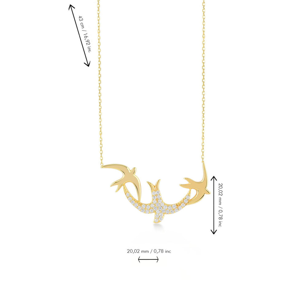 Bird Stones Gold Plated 925K Silver Necklace