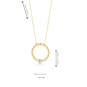 Ring Stones Gold Plated 925K Silver Necklace