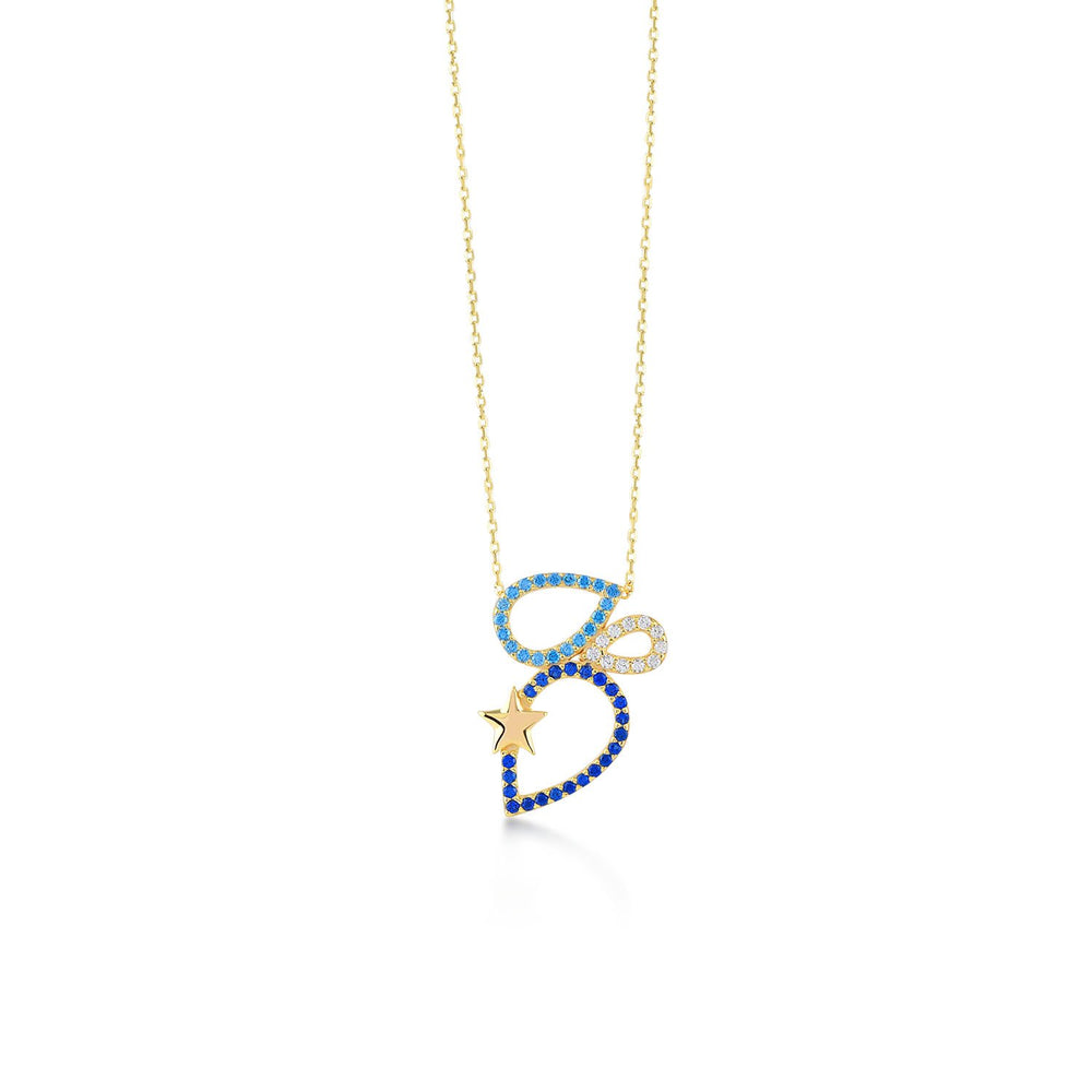 Triple Drop Stones Gold Plated 925K Silver Necklace