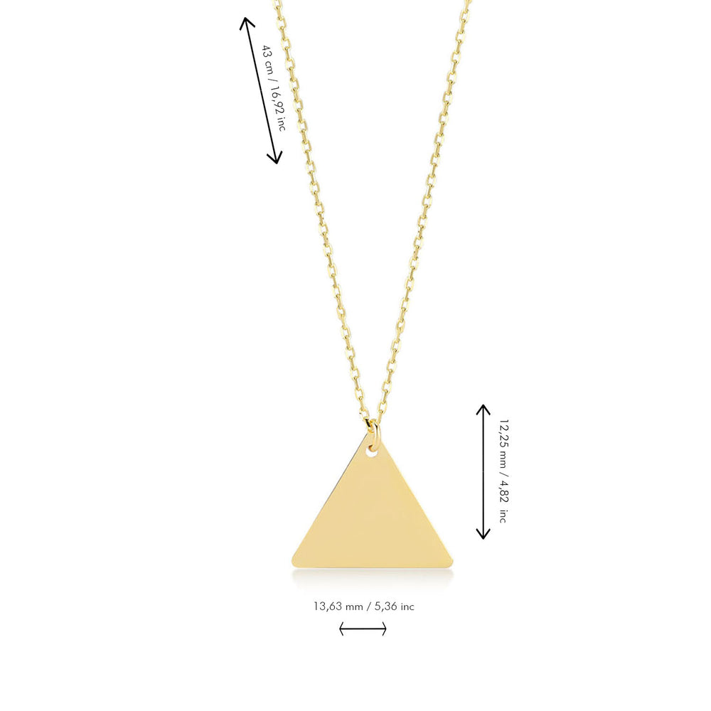 Triangle  14K Gold Pendant Necklace