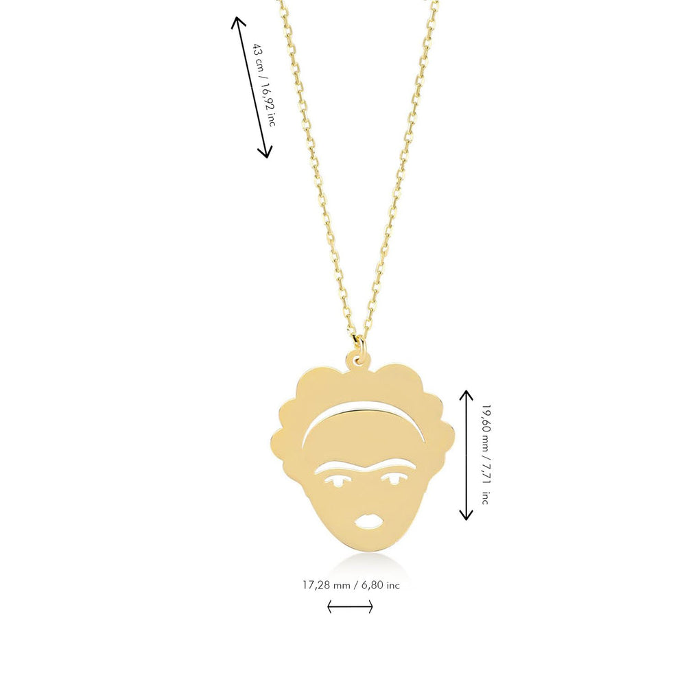 Load image into Gallery viewer, Freda Kahlo Figured Gold Plated 925K Silver Pendant Necklace