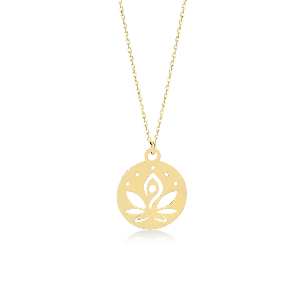 Lotus Om Meditating Woman 14K Gold Pendant Necklace