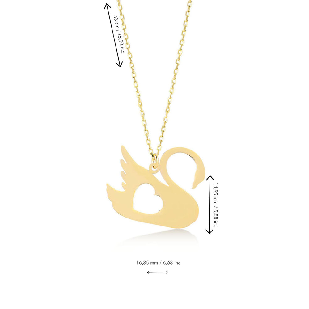 Load image into Gallery viewer, Lovely Swan 14K Gold Pendant Necklace