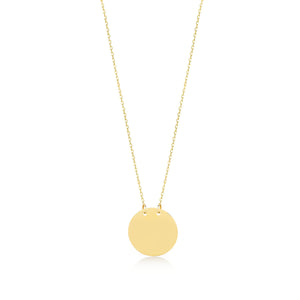 Load image into Gallery viewer, Mirror Polished  Engravable no.2 14K Gold Pendant Necklace