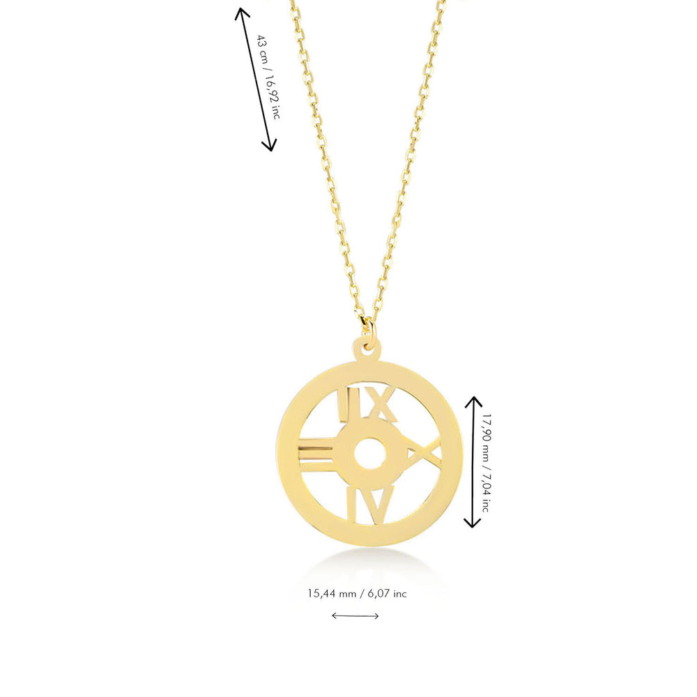 Load image into Gallery viewer, Roman Numerals 14K Gold Pendant Necklace