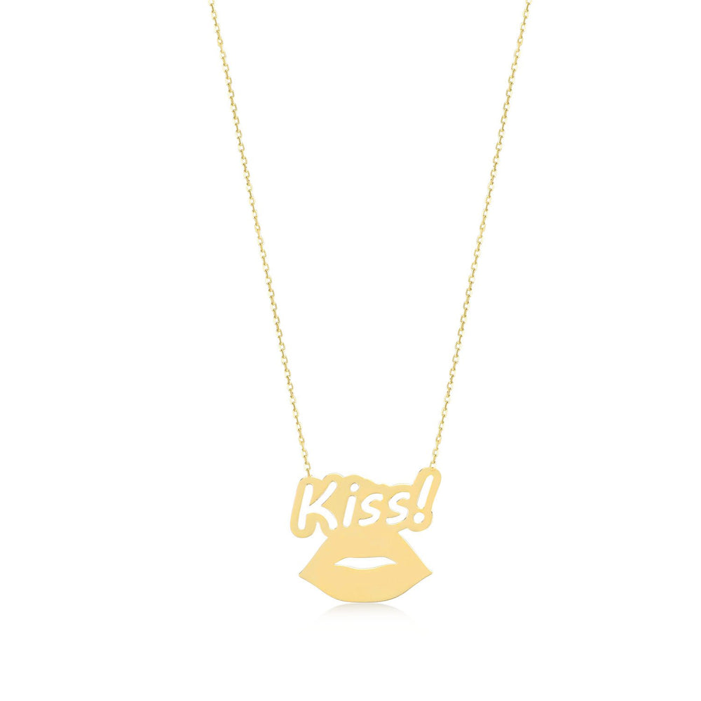 Lips in Love Gold Plated 925K Silver Pendant Necklace