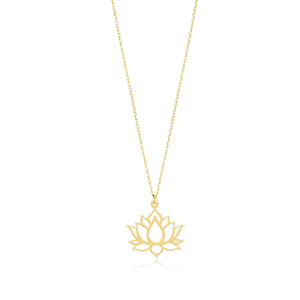 Lotus 14K Gold Pendant Necklace