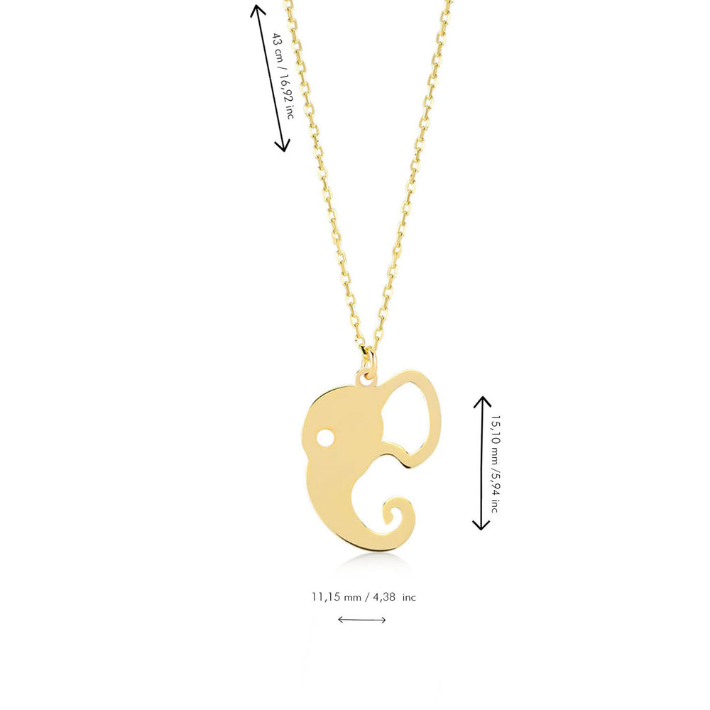 Elephant Figured 14K Gold Pendant Necklace