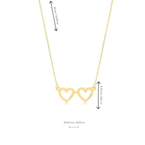 Heart Eyeglasses 14K Gold Pendant Necklace
