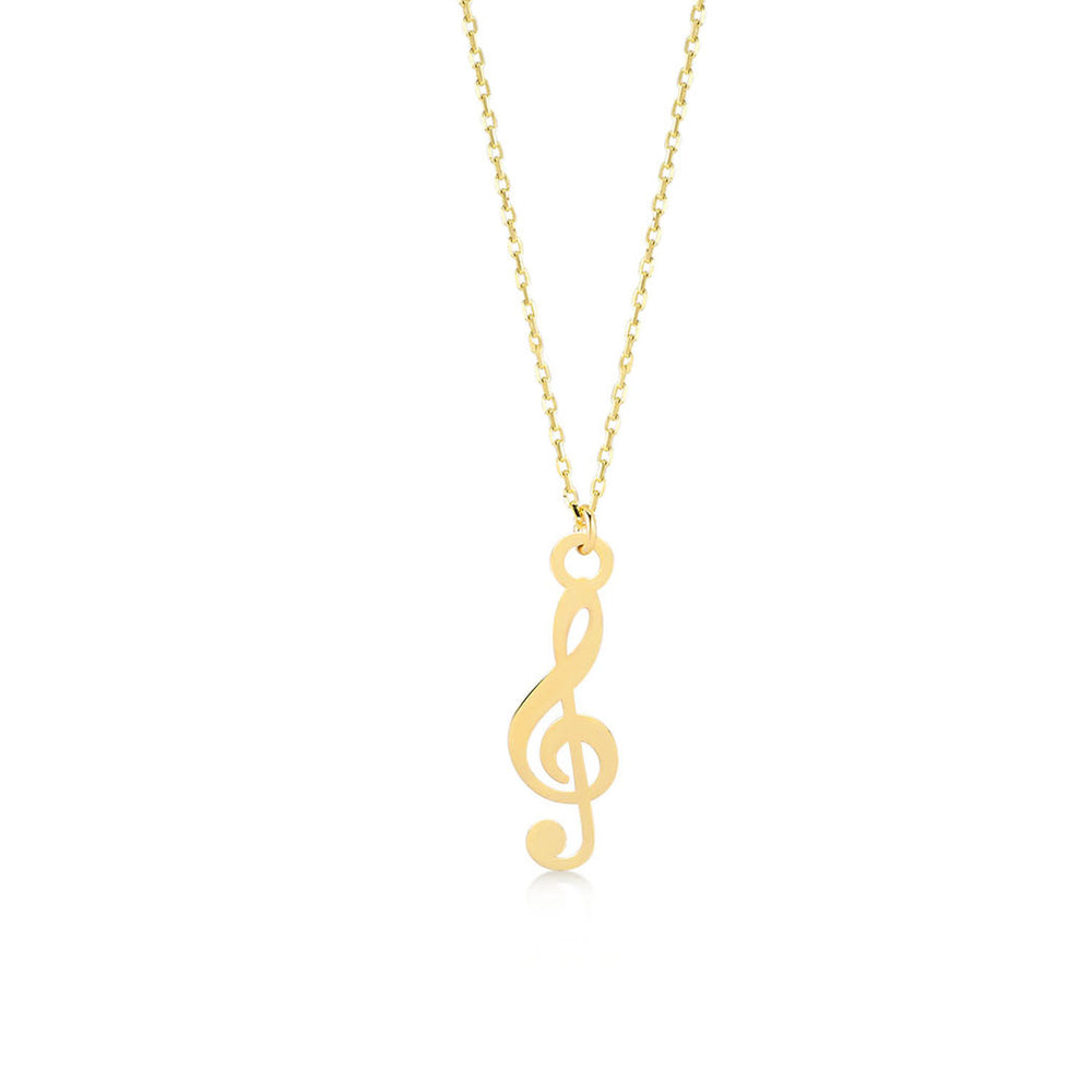 Treble Clef Musical Note 14K Gold Pendant Necklace