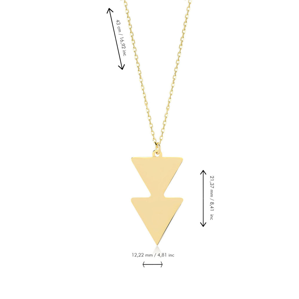 Load image into Gallery viewer, Double Triangle Shape 14K Gold Pendant Necklace
