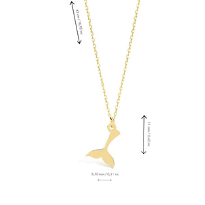 Whale Tail Gold Plated 925K Silver Pendant Necklace