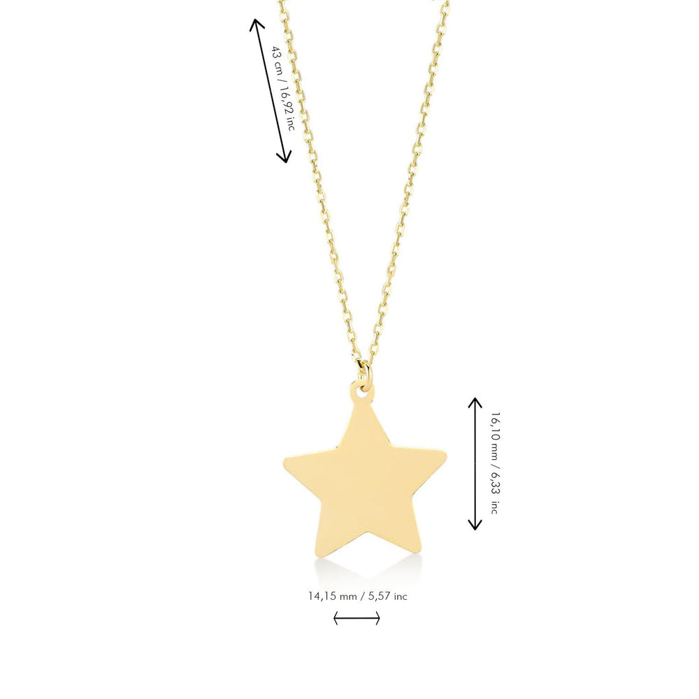 Star Shape Gold Plated 925K Silver Pendant Necklace