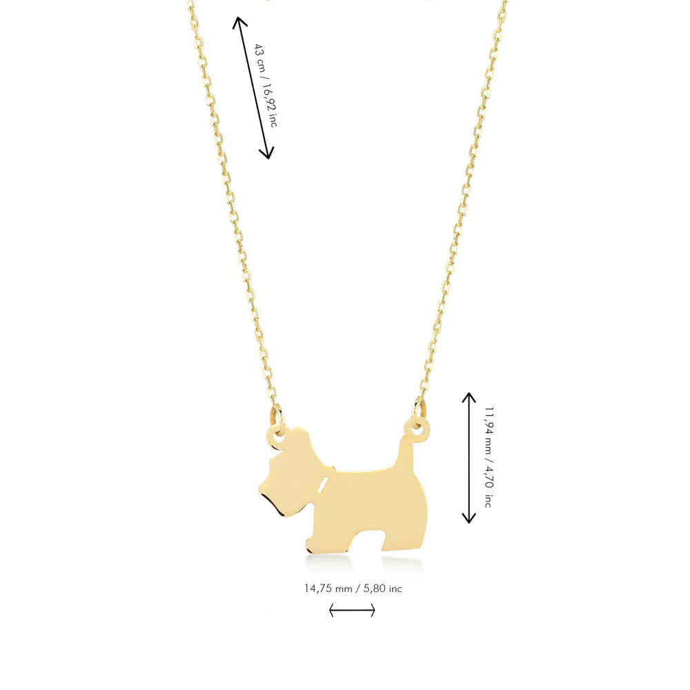 Cute Puppy 14K Gold Pendant Necklace